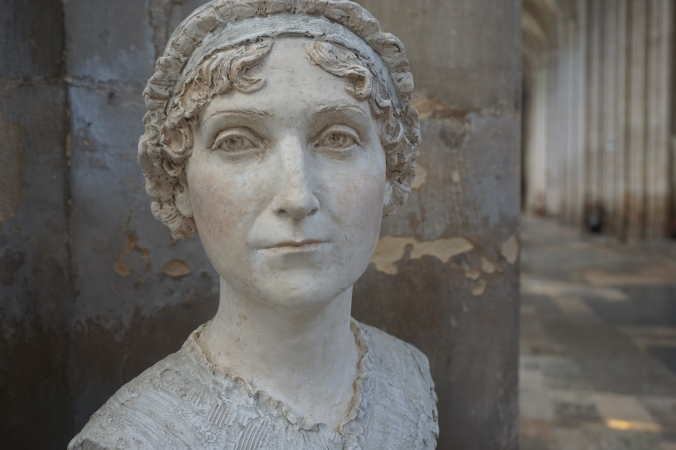 Jane Austen bust in Winchester Cathedral