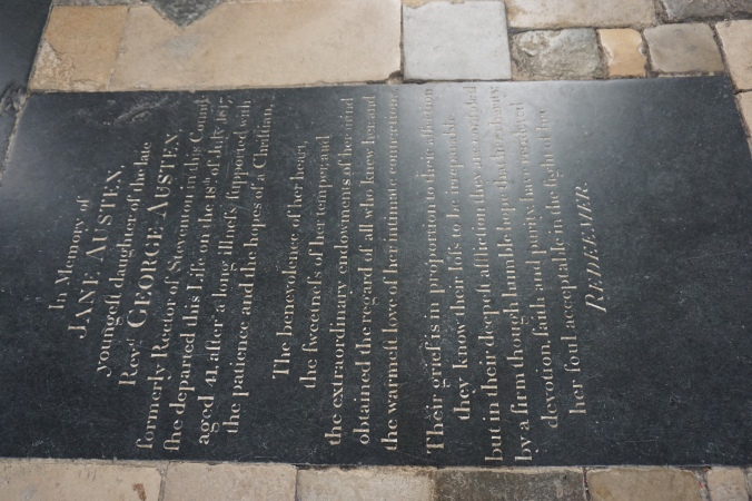 Austen's grave marker at Winchester Cathedral