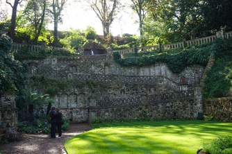 The medieval-esque stone wall