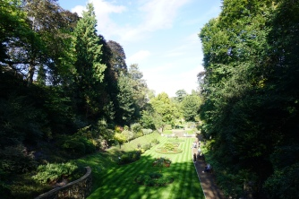 View of the garden from the top of the wall