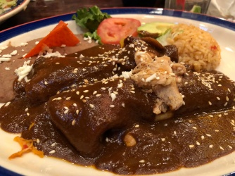 Chicken enchiladas in mole sauce (Mi Tierra)